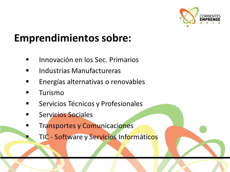 Emprendimientos sobre: Innovación en los Sec.