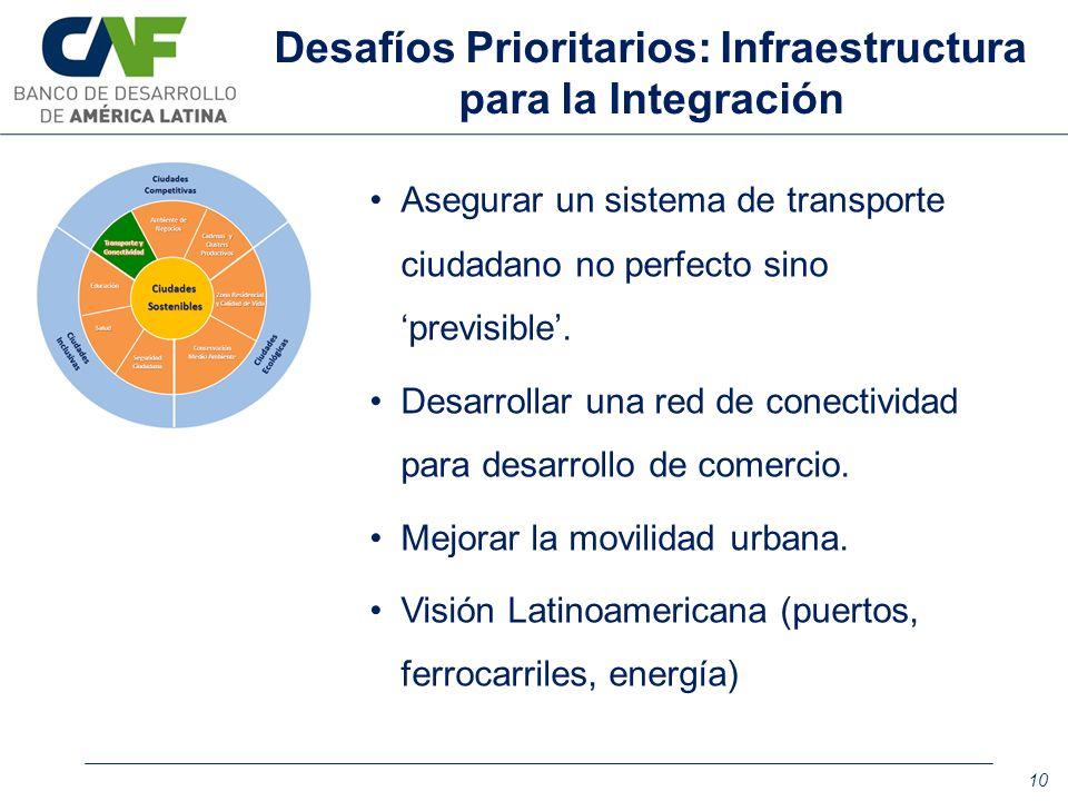 Asegurar un sistema de transporte ciudadano no perfecto sino previsible. Desarrollar una red de conectividad para desarrollo de comercio. Mejorar la m