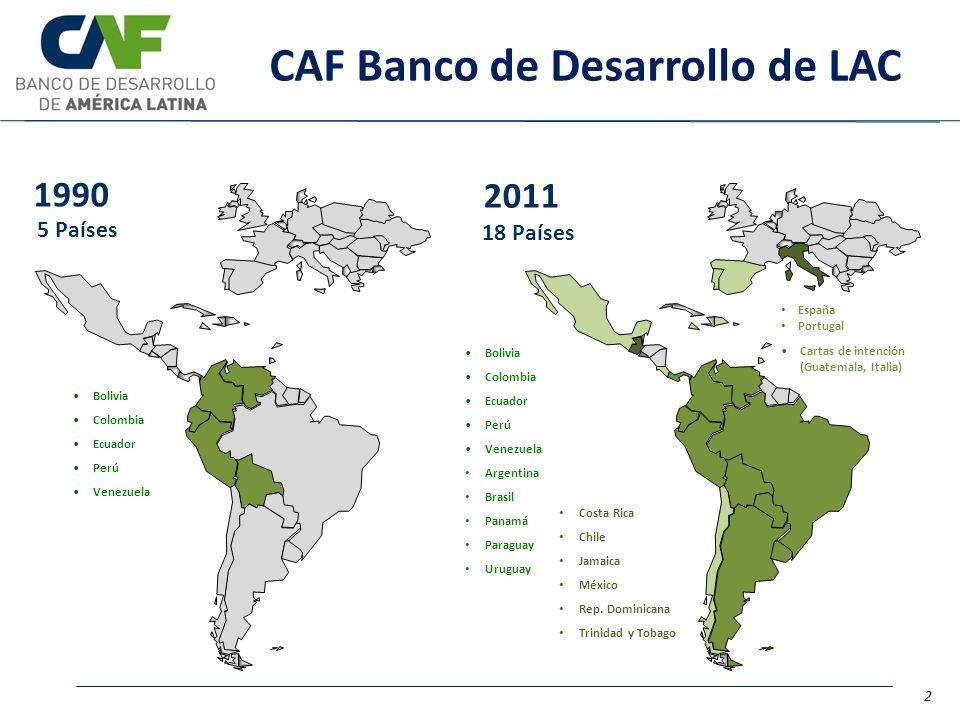 Bolivia Colombia Ecuador Perú Venezuela 1990 5 Países España Portugal Cartas de intención (Guatemala, Italia) 2011 18 Países Costa Rica Chile Jamaica