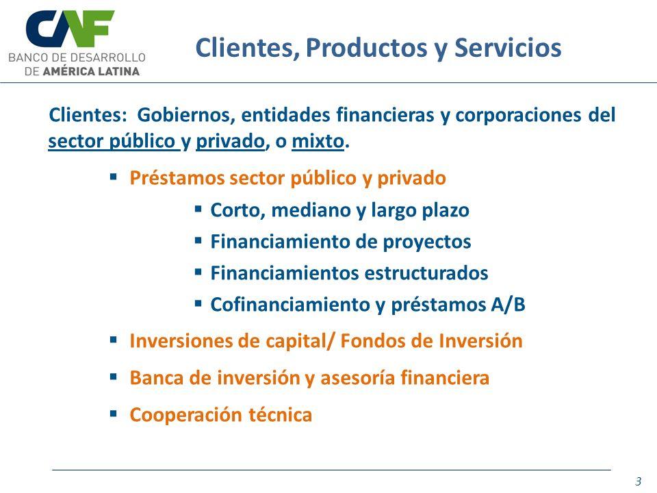 Clientes: Gobiernos, entidades financieras y corporaciones del sector público y privado, o mixto. Préstamos sector público y privado Corto, mediano y