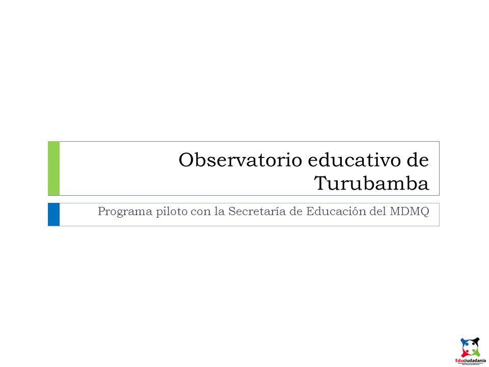 Observatorio educativo de Turubamba Programa piloto con la Secretaría de Educación del MDMQ