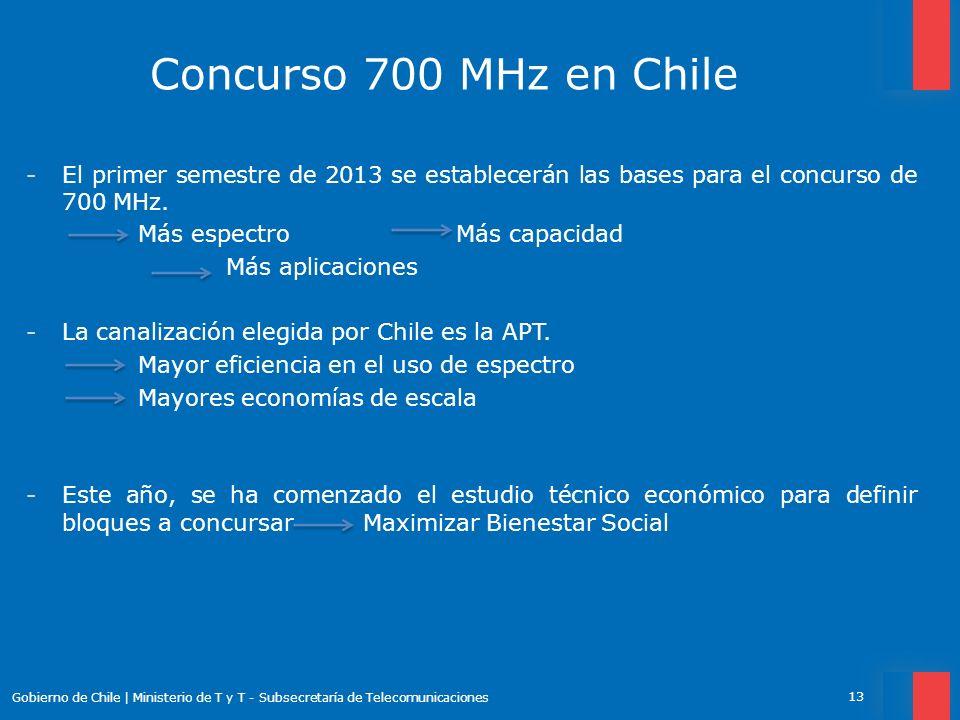 Concurso 700 MHz en Chile -El primer semestre de 2013 se establecerán las bases para el concurso de 700 MHz. Más espectro Más capacidad Más aplicacion