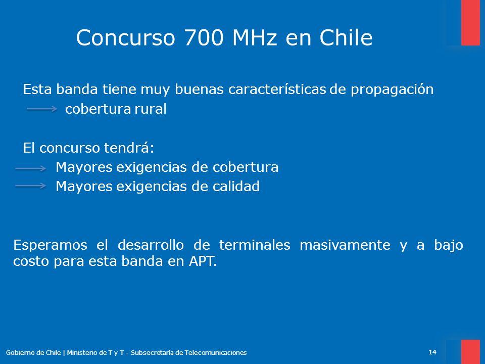 Concurso 700 MHz en Chile Esta banda tiene muy buenas características de propagación cobertura rural El concurso tendrá: Mayores exigencias de cobertu