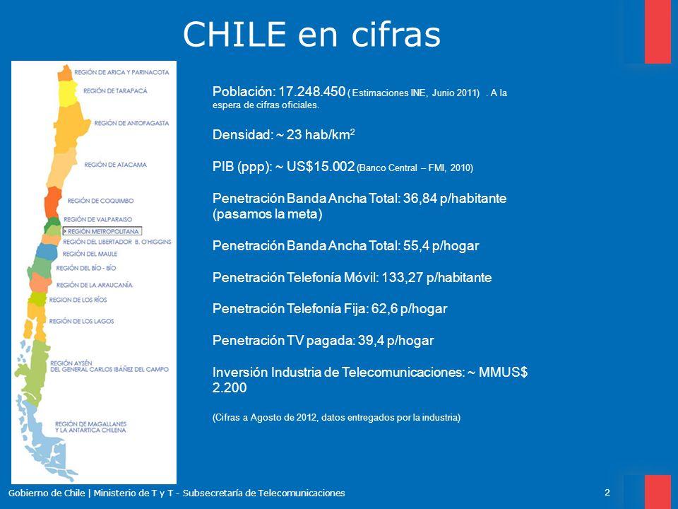 CHILE en cifras 2 Gobierno de Chile | Ministerio de T y T - Subsecretaría de Telecomunicaciones Población: 17.248.450 ( Estimaciones INE, Junio 2011).