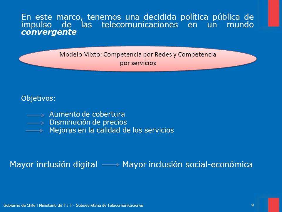 Proyectos en Curso para el logro de estos objetivos 10 Gobierno de Chile   Ministerio de T y T - Subsecretaría de Telecomunicaciones Eliminación de la Larga Distancia Nacional Adecuación del Plan de Numeración: portabilidad numérica transversal (convergencia fijo móvil).