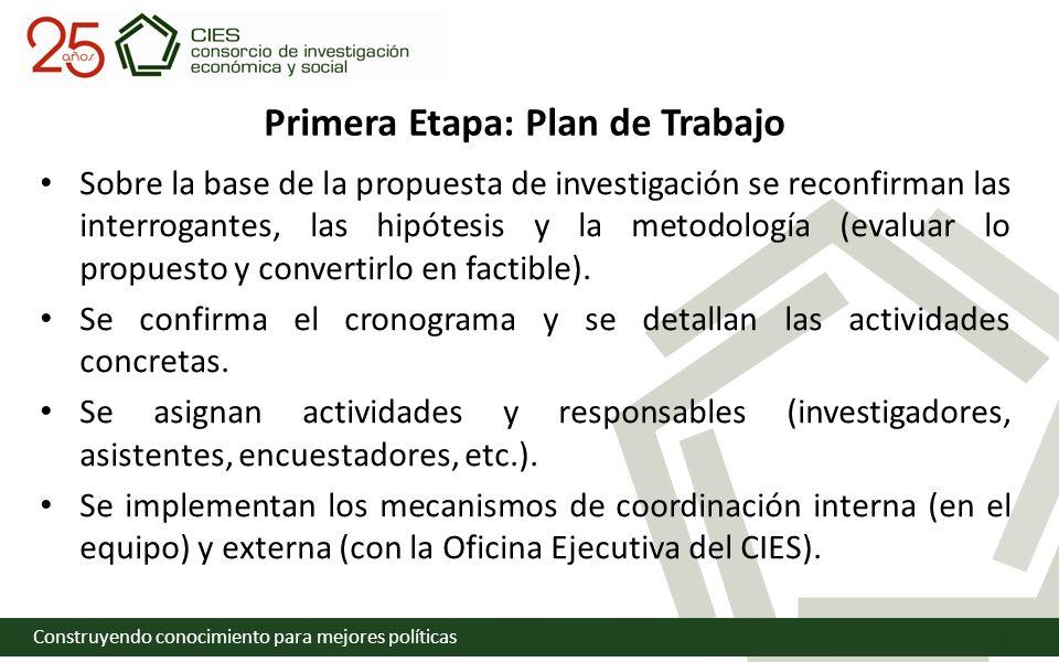 Construyendo conocimiento para mejores políticas Primera Etapa: Plan de Trabajo Sobre la base de la propuesta de investigación se reconfirman las interrogantes, las hipótesis y la metodología (evaluar lo propuesto y convertirlo en factible).