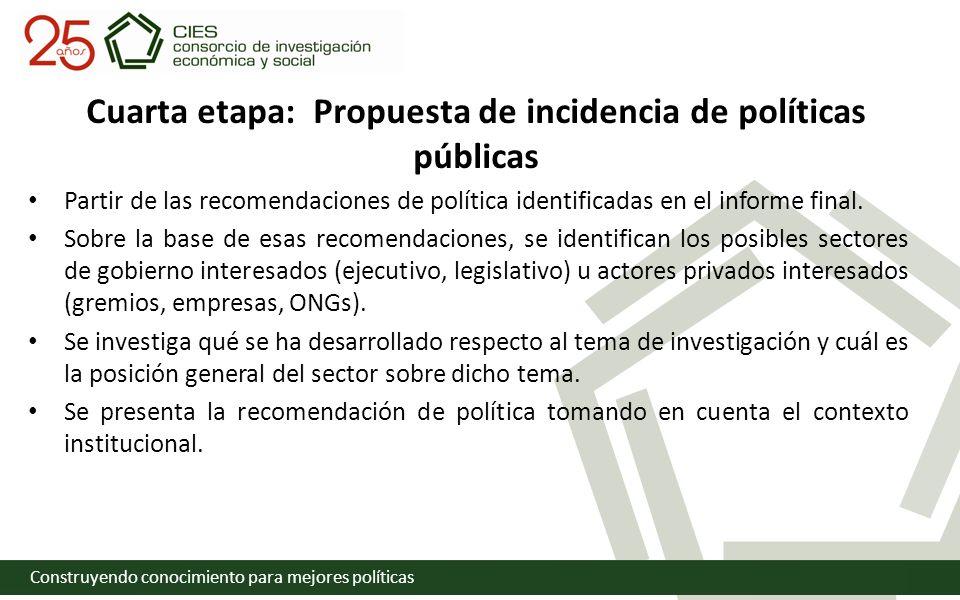 Construyendo conocimiento para mejores políticas Cuarta etapa: Propuesta de incidencia de políticas públicas Partir de las recomendaciones de política identificadas en el informe final.