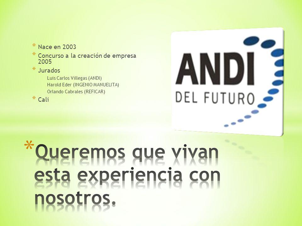 * Nace en 2003 * Concurso a la creación de empresa 2005 * Jurados Luis Carlos Villegas (ANDI) Harold Eder (INGENIO MANUELITA) Orlando Cabrales (REFICAR) * Cali