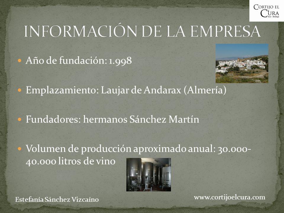 Año de fundación: 1.998 Emplazamiento: Laujar de Andarax (Almería) Fundadores: hermanos Sánchez Martín Volumen de producción aproximado anual: 30.000- 40.000 litros de vino www.cortijoelcura.com Estefanía Sánchez Vizcaíno