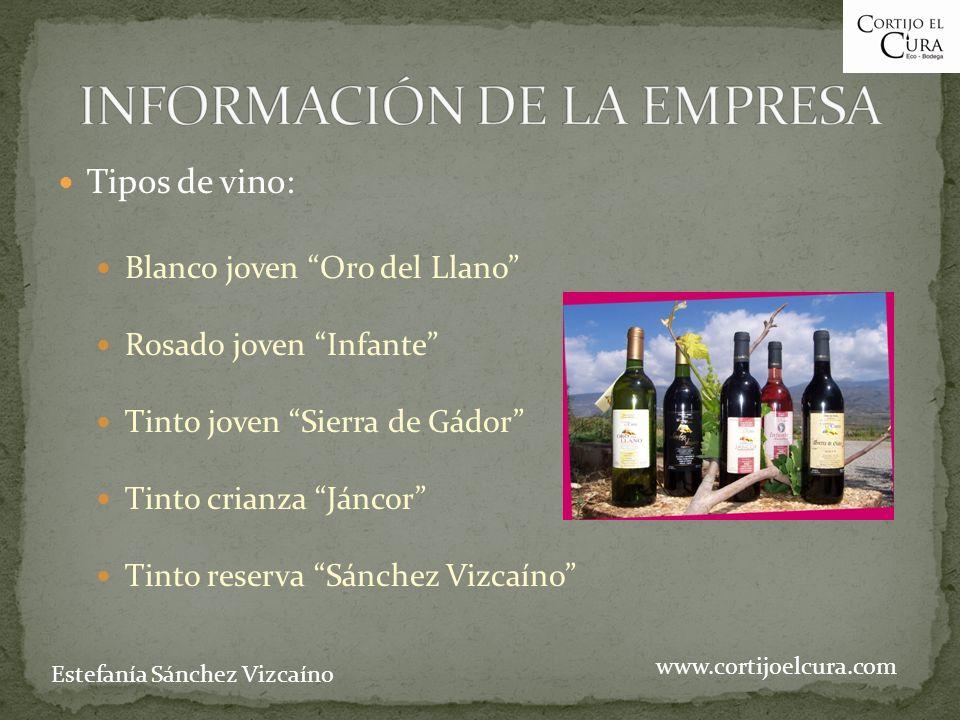 Tipos de vino: Blanco joven Oro del Llano Rosado joven Infante Tinto joven Sierra de Gádor Tinto crianza Jáncor Tinto reserva Sánchez Vizcaíno www.cor