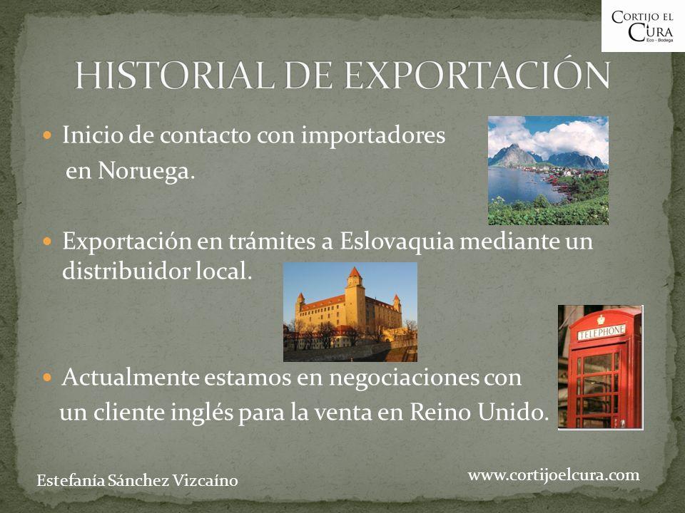 Inicio de contacto con importadores en Noruega. Exportación en trámites a Eslovaquia mediante un distribuidor local. Actualmente estamos en negociacio