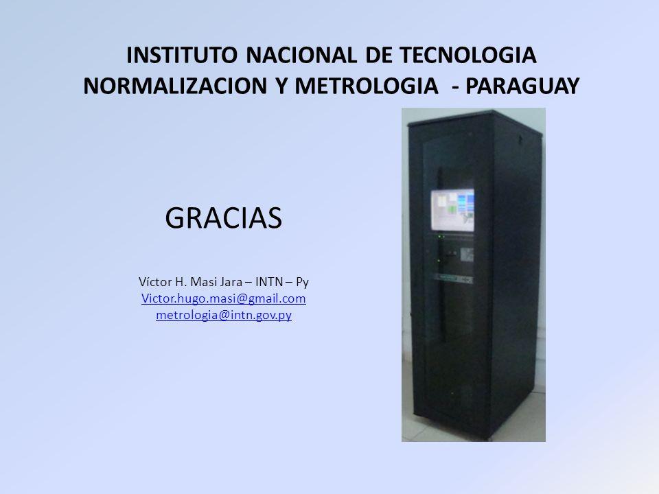 INSTITUTO NACIONAL DE TECNOLOGIA NORMALIZACION Y METROLOGIA - PARAGUAY GRACIAS Víctor H. Masi Jara – INTN – Py Victor.hugo.masi@gmail.com metrologia@i