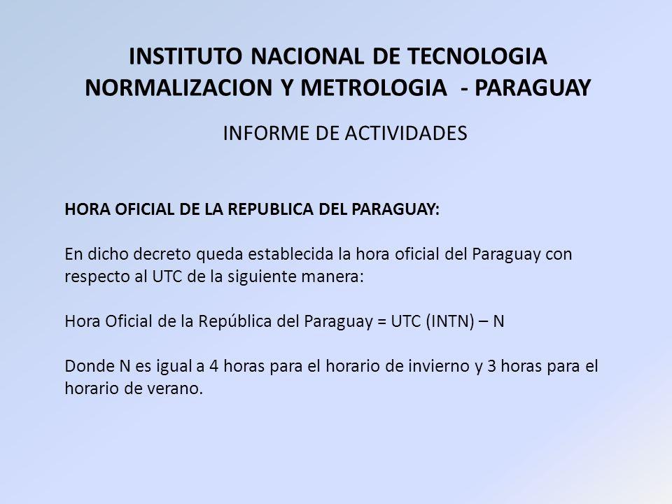 INSTITUTO NACIONAL DE TECNOLOGIA NORMALIZACION Y METROLOGIA - PARAGUAY INFORME DE ACTIVIDADES HORA OFICIAL DE LA REPUBLICA DEL PARAGUAY: En dicho decr