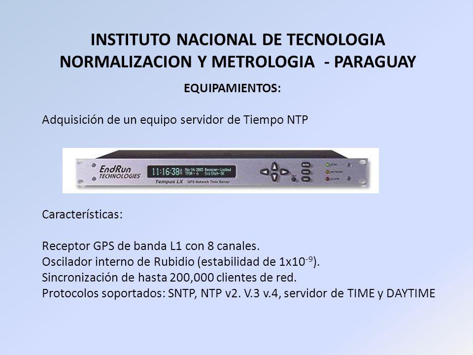 INSTITUTO NACIONAL DE TECNOLOGIA NORMALIZACION Y METROLOGIA - PARAGUAY EQUIPAMIENTOS: Adquisición de un equipo servidor de Tiempo NTP Características:
