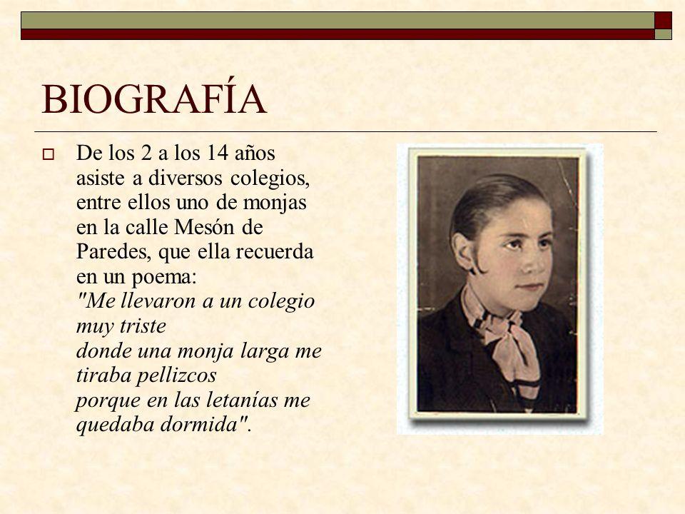BIOGRAFÍA A los 14 años su madre la matriculó en el Instituto de Educación Profesional de la Mujer en la calle Pinar, donde obtuvo diplomas de Taquigrafía y Mecanografía, Gramática y Literatura así como en Higiene y Puericultura.
