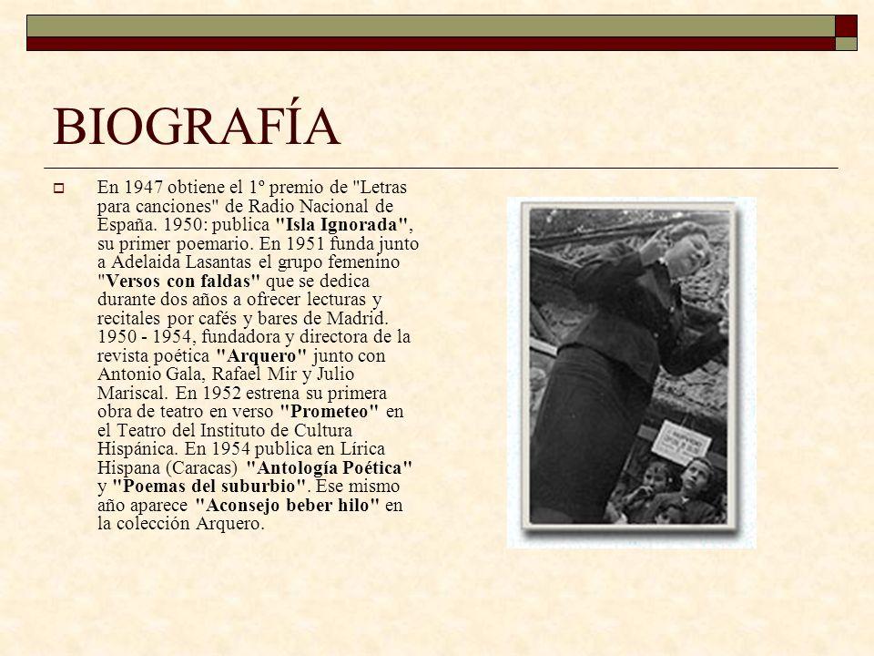 BIOGRAFÍA 1955-1960: cursa estudios de biblioteconomía e Inglés en el International Institute.