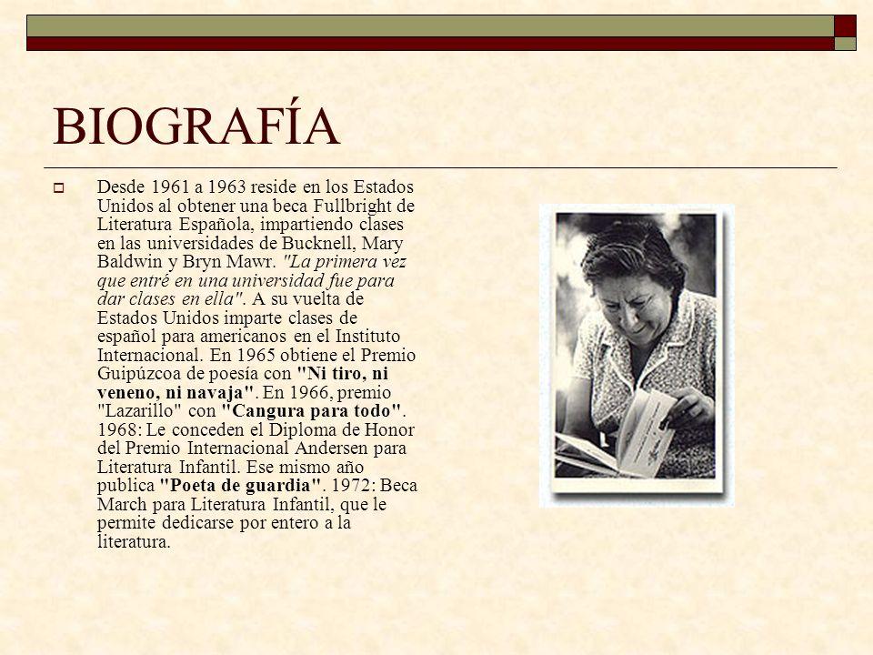 BIOGRAFÍA A mediados de los años 70 colabora activamente en diversos programas infantiles de TVE, siendo Un globo, dos globos, tres globos y La cometa blanca los que la convierten definitivamente en la poeta de los niños.