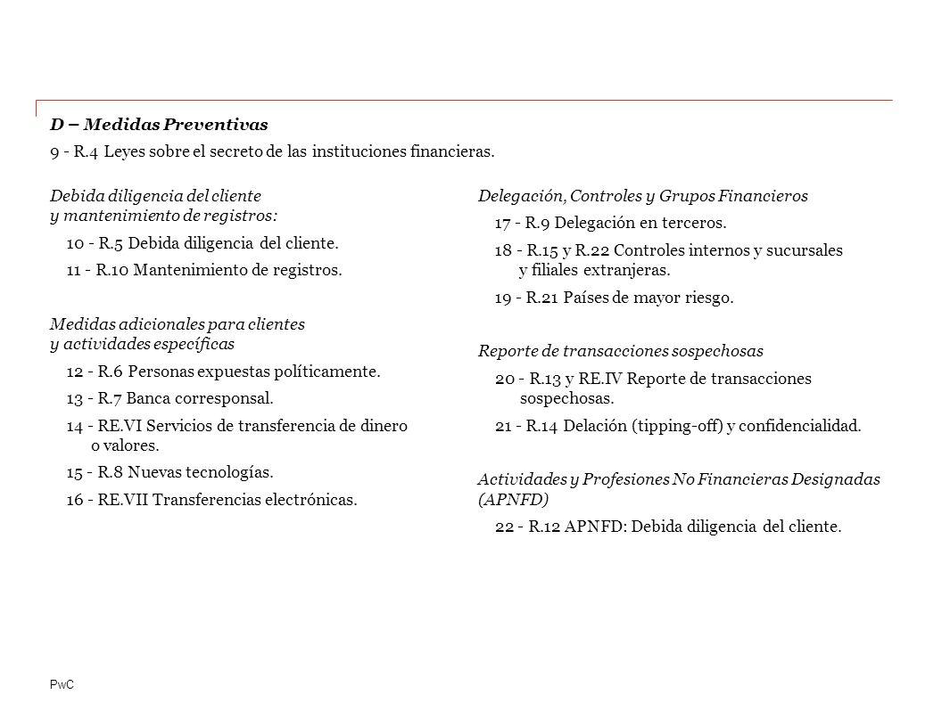 PwC Debida diligencia del cliente y mantenimiento de registros: 10 - R.5 Debida diligencia del cliente.