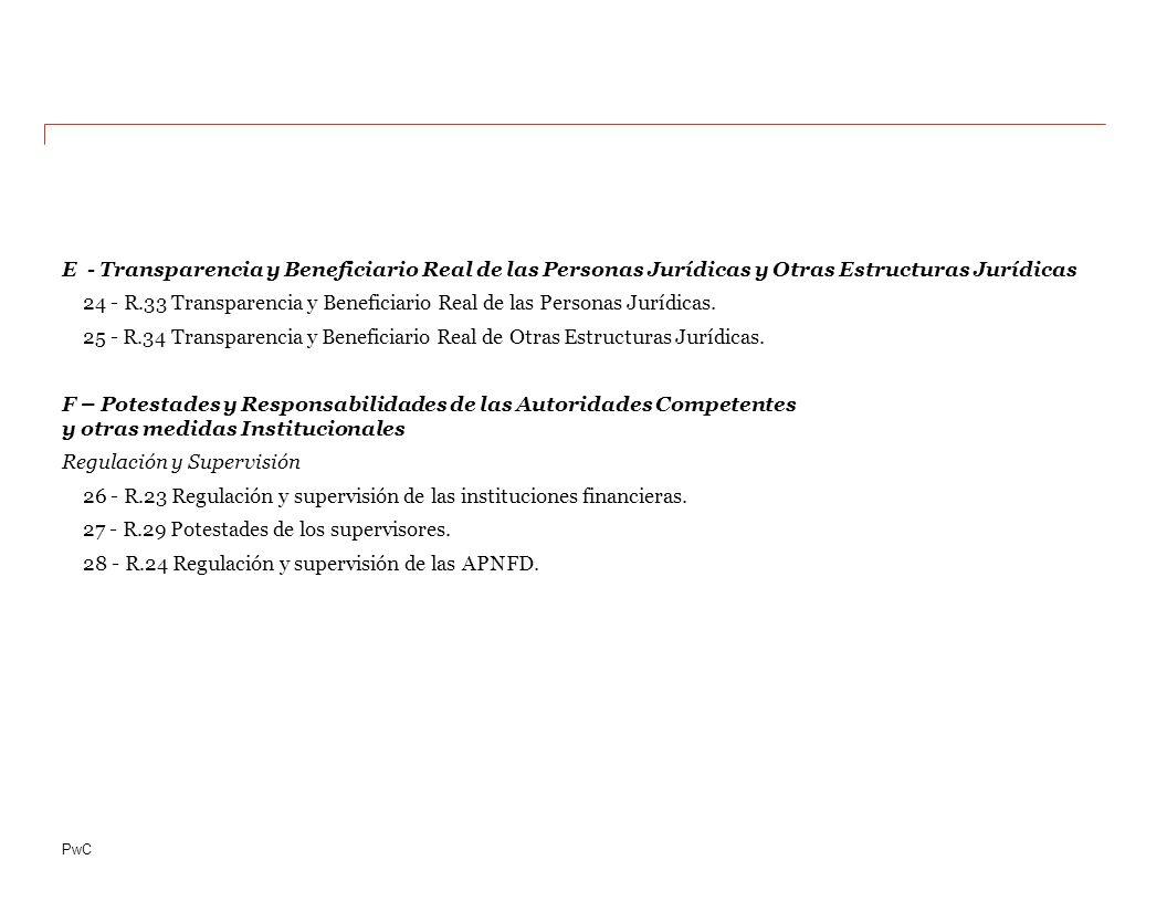 PwC E - Transparencia y Beneficiario Real de las Personas Jurídicas y Otras Estructuras Jurídicas 24 - R.33 Transparencia y Beneficiario Real de las Personas Jurídicas.