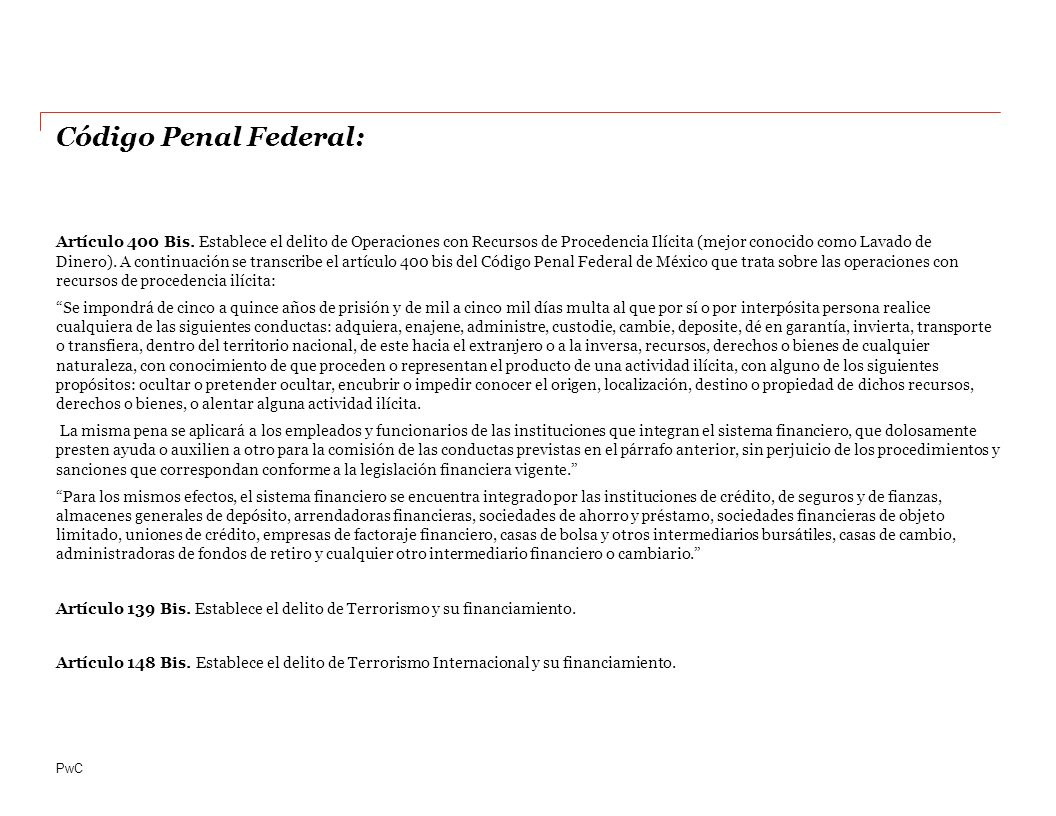 PwC Código Penal Federal: Artículo 400 Bis.