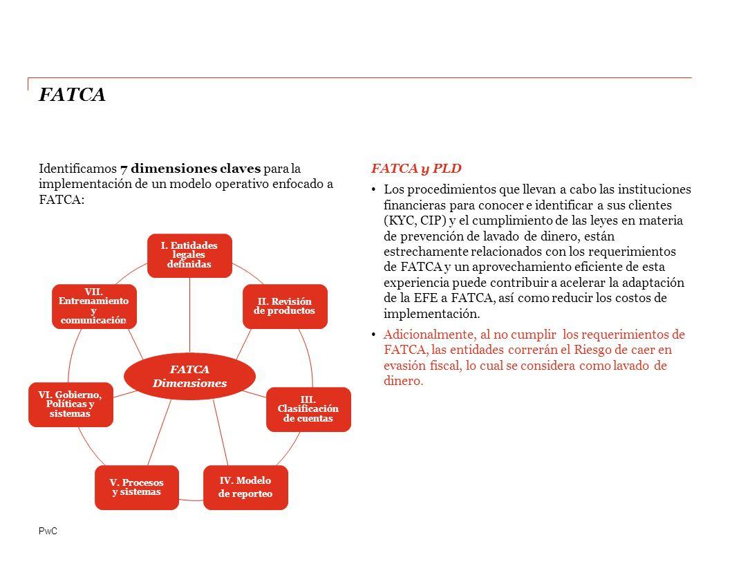 PwC Identificamos 7 dimensiones claves para la implementación de un modelo operativo enfocado a FATCA: FATCA y PLD Los procedimientos que llevan a cabo las instituciones financieras para conocer e identificar a sus clientes (KYC, CIP) y el cumplimiento de las leyes en materia de prevención de lavado de dinero, están estrechamente relacionados con los requerimientos de FATCA y un aprovechamiento eficiente de esta experiencia puede contribuir a acelerar la adaptación de la EFE a FATCA, así como reducir los costos de implementación.