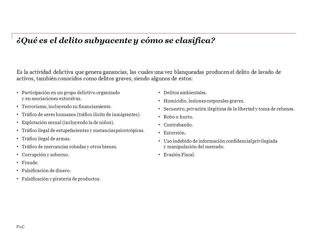 PwC Participación en un grupo delictivo organizado y en asociaciones extorsivas.