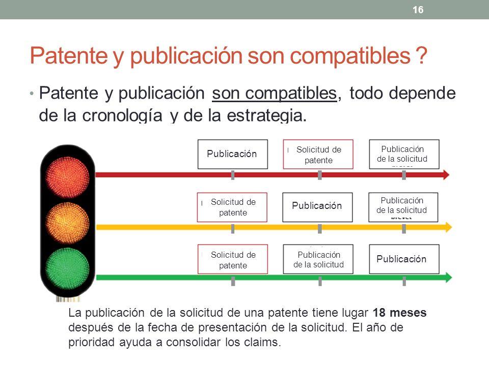 Patente y publicación son compatibles ? Patente y publicación son compatibles, todo depende de la cronología y de la estrategia. 16 Publicación Solici
