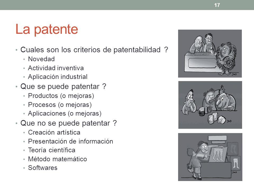 La patente Cuales son los criterios de patentabilidad ? Novedad Actividad inventiva Aplicación industrial Que se puede patentar ? Productos (o mejoras