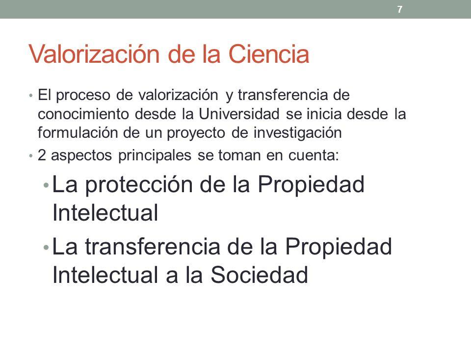 Valorización de la Ciencia El proceso de valorización y transferencia de conocimiento desde la Universidad se inicia desde la formulación de un proyec