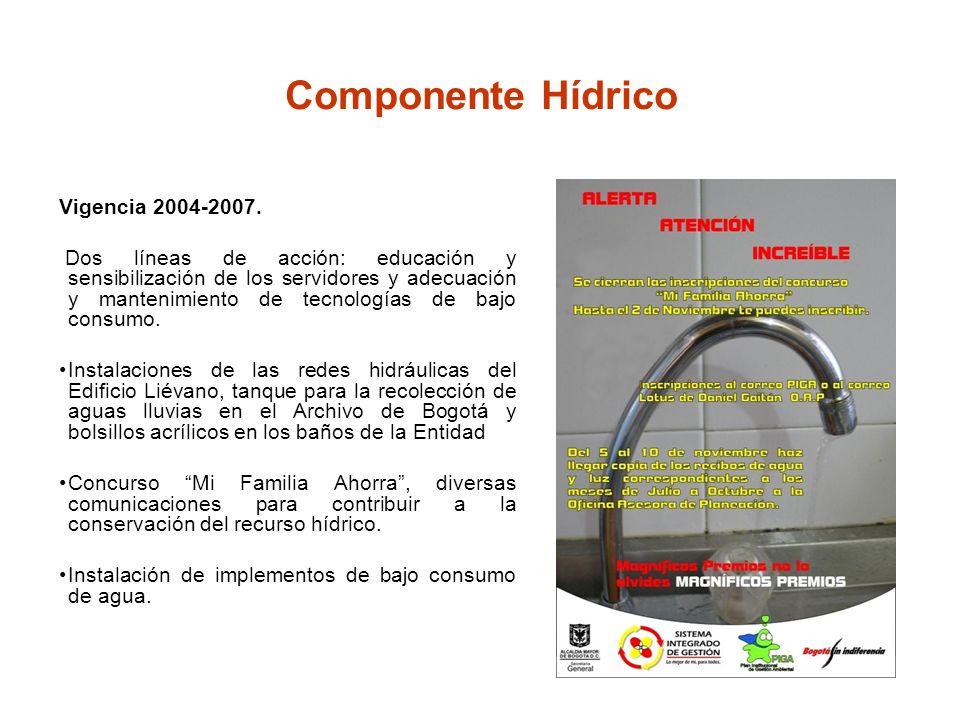 Componente Hídrico Vigencia 2004-2007. Dos líneas de acción: educación y sensibilización de los servidores y adecuación y mantenimiento de tecnologías