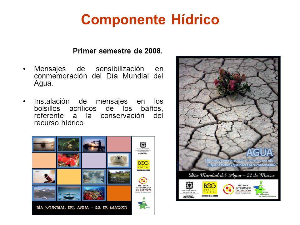 Componente Hídrico Primer semestre de 2008. Mensajes de sensibilización en conmemoración del Día Mundial del Agua. Instalación de mensajes en los bols