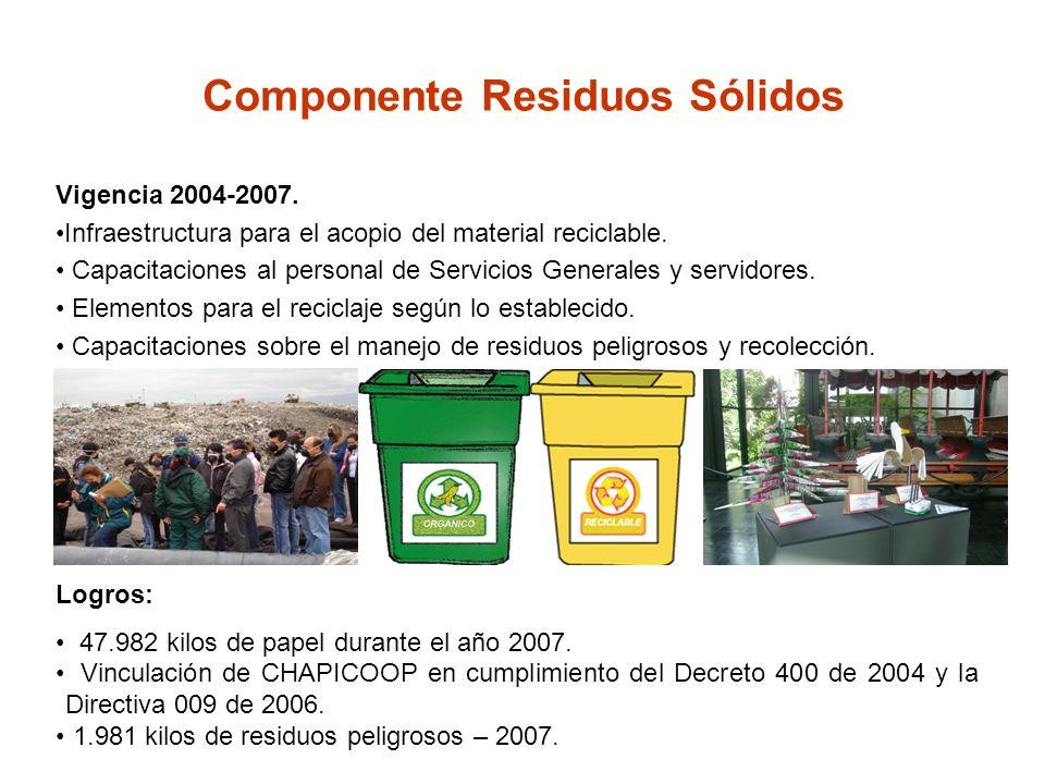 Componente Residuos Sólidos Vigencia 2004-2007. Infraestructura para el acopio del material reciclable. Capacitaciones al personal de Servicios Genera