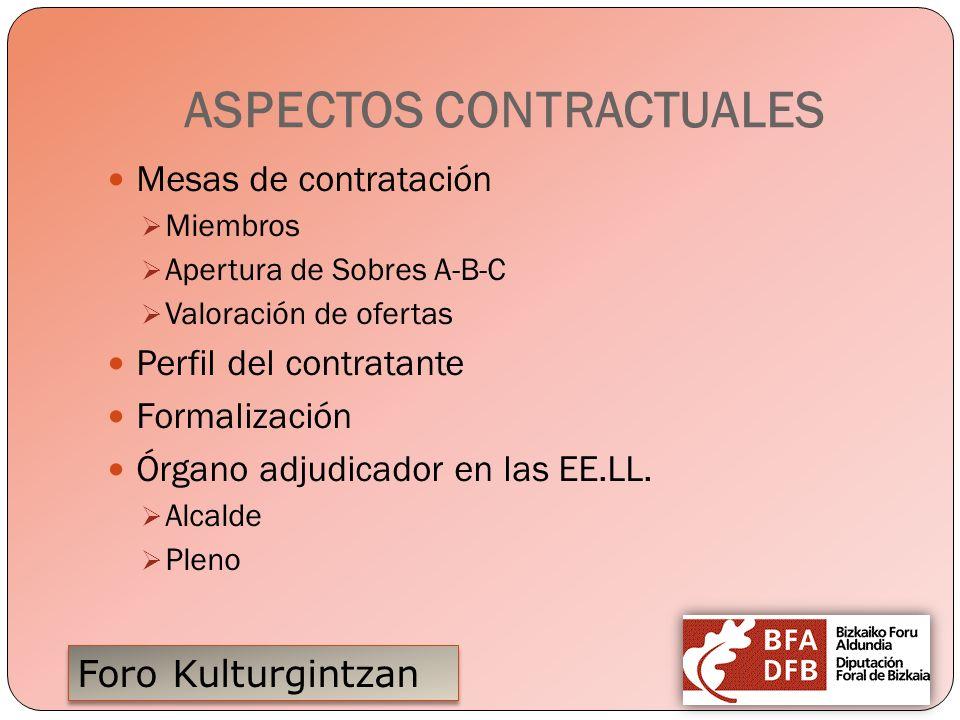 Foro Kulturgintzan ASPECTOS CONTRACTUALES Mesas de contratación Miembros Apertura de Sobres A-B-C Valoración de ofertas Perfil del contratante Formali
