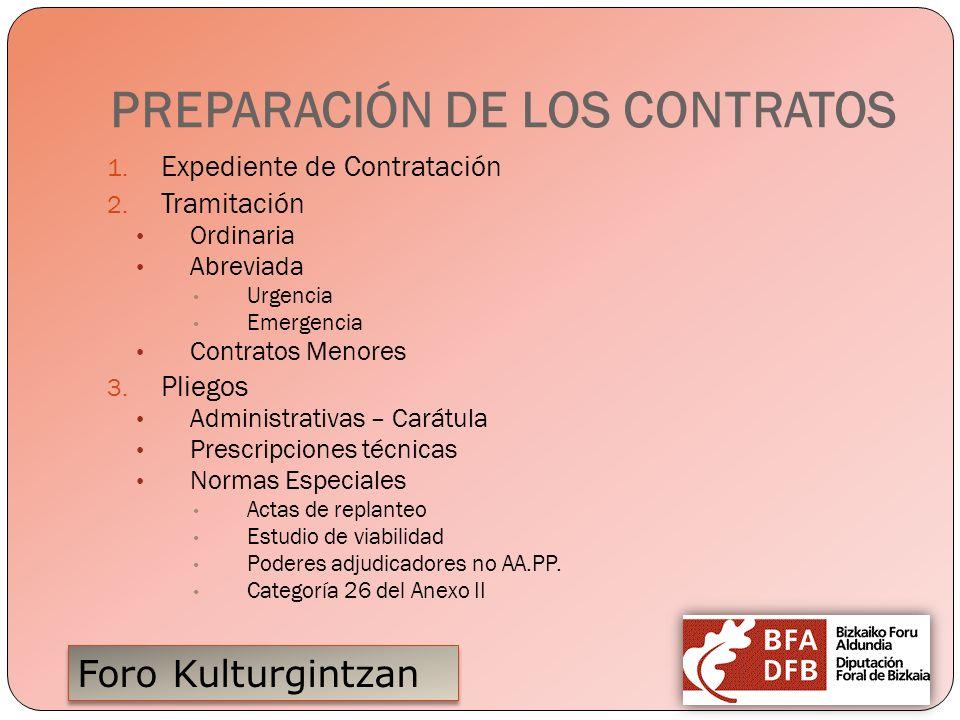Foro Kulturgintzan PREPARACIÓN DE LOS CONTRATOS 1. Expediente de Contratación 2. Tramitación Ordinaria Abreviada Urgencia Emergencia Contratos Menores