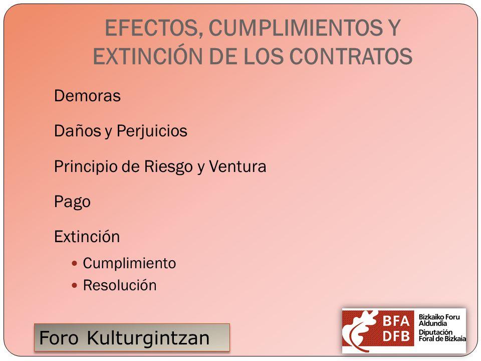Foro Kulturgintzan EFECTOS, CUMPLIMIENTOS Y EXTINCIÓN DE LOS CONTRATOS Demoras Daños y Perjuicios Principio de Riesgo y Ventura Pago Extinción Cumplim