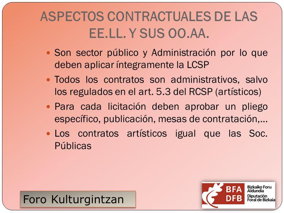 Foro Kulturgintzan ASPECTOS CONTRACTUALES DE LAS EE.LL. Y SUS OO.AA. Son sector público y Administración por lo que deben aplicar íntegramente la LCSP