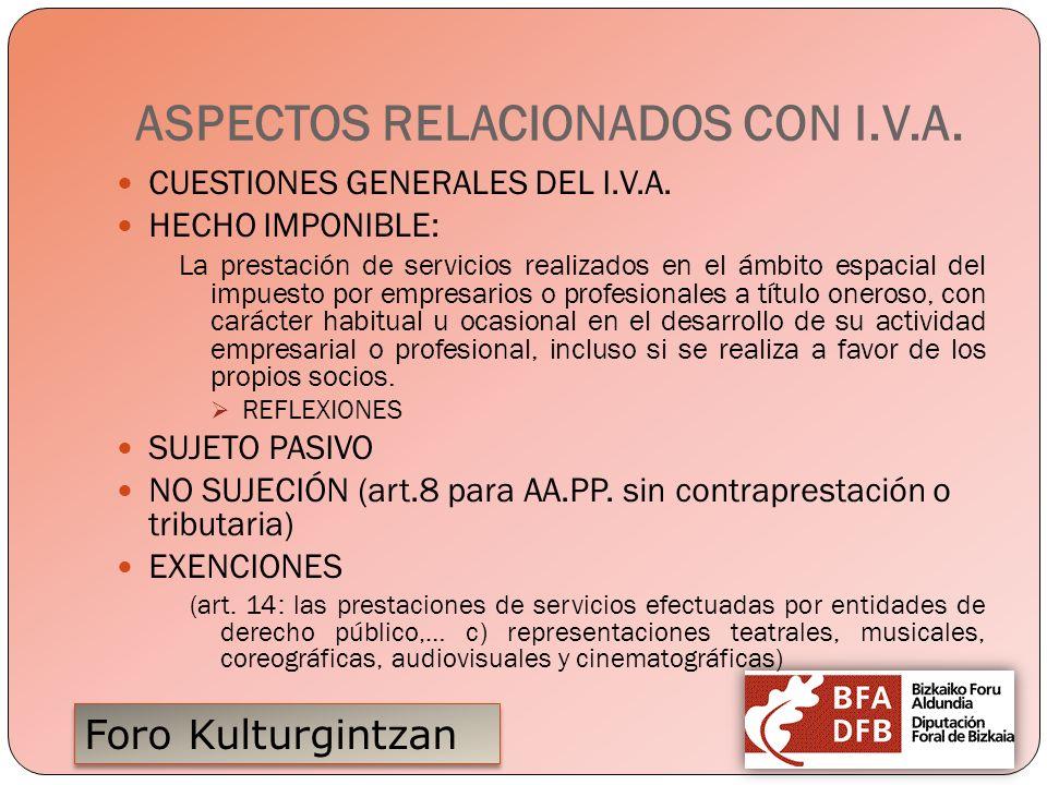 Foro Kulturgintzan ASPECTOS RELACIONADOS CON I.V.A. CUESTIONES GENERALES DEL I.V.A. HECHO IMPONIBLE: La prestación de servicios realizados en el ámbit