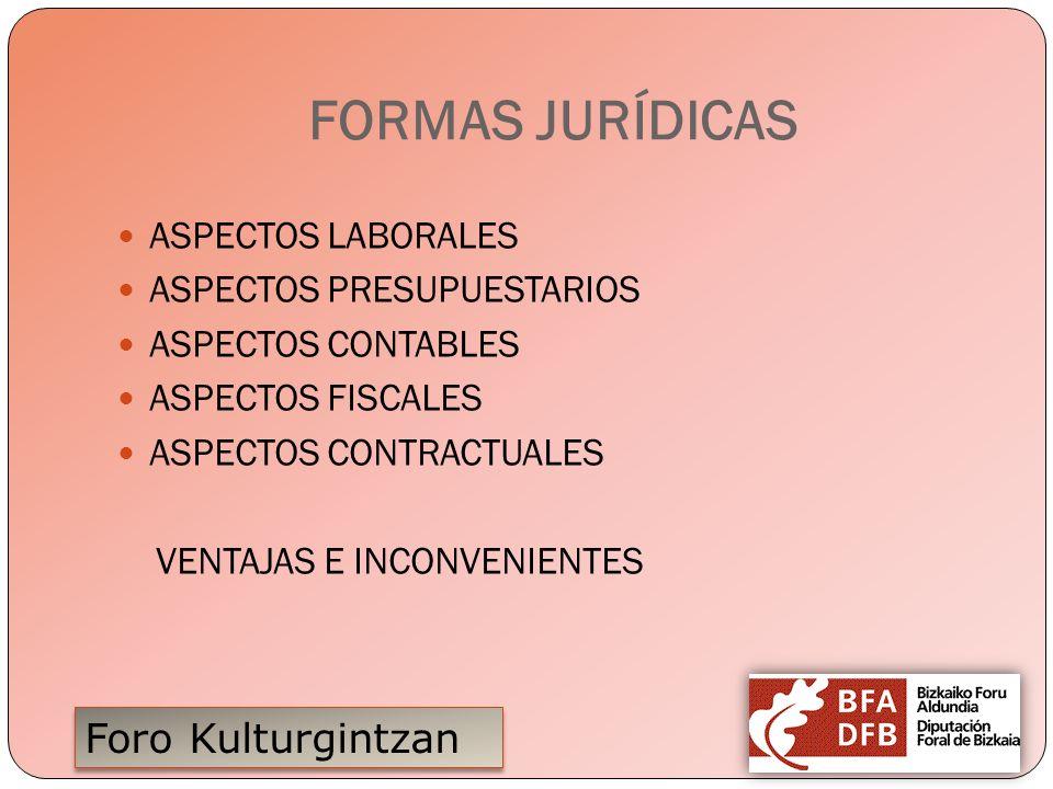 Foro Kulturgintzan FORMAS JURÍDICAS ASPECTOS LABORALES ASPECTOS PRESUPUESTARIOS ASPECTOS CONTABLES ASPECTOS FISCALES ASPECTOS CONTRACTUALES VENTAJAS E