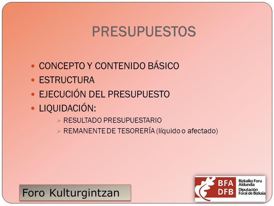 Foro Kulturgintzan PRESUPUESTOS CONCEPTO Y CONTENIDO BÁSICO ESTRUCTURA EJECUCIÓN DEL PRESUPUESTO LIQUIDACIÓN: RESULTADO PRESUPUESTARIO REMANENTE DE TE
