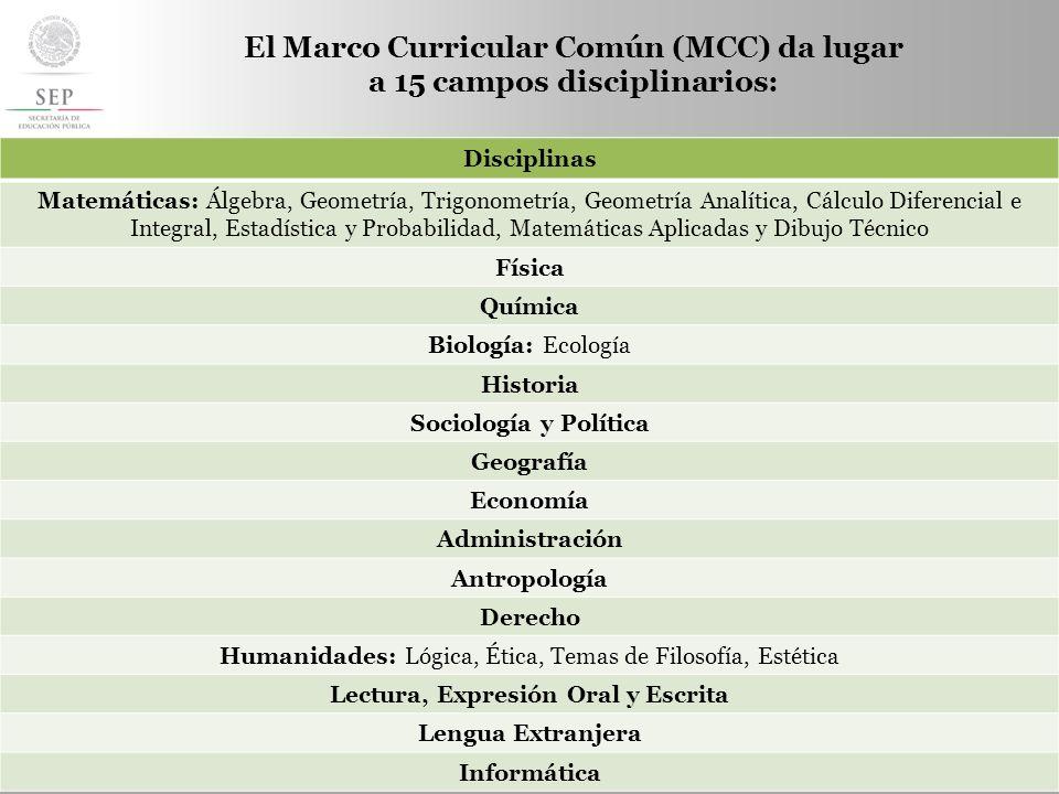 S UBSECRETARÍA DE E DUCACIÓN M EDIA S UPERIOR El Marco Curricular Común (MCC) da lugar a 15 campos disciplinarios: Disciplinas Matemáticas: Álgebra, G