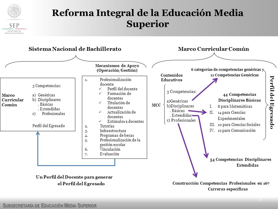 S UBSECRETARÍA DE E DUCACIÓN M EDIA S UPERIOR 3 Reforma Integral de la Educación Media Superior Sistema Nacional de Bachillerato Mecanismos de Apoyo (