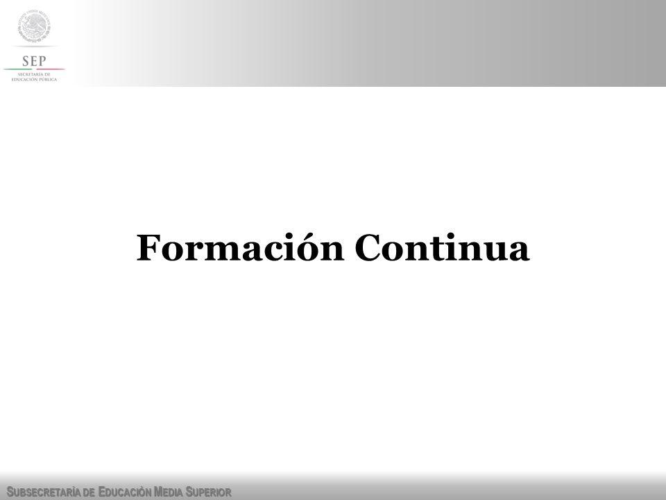 S UBSECRETARÍA DE E DUCACIÓN M EDIA S UPERIOR Formación Continua