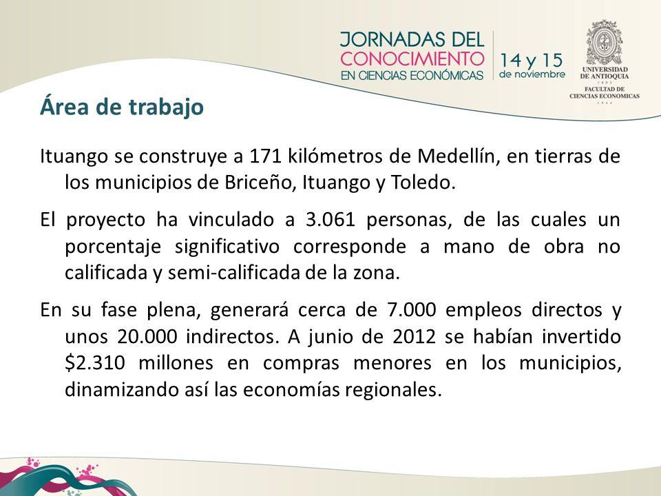 Ituango se construye a 171 kilómetros de Medellín, en tierras de los municipios de Briceño, Ituango y Toledo. El proyecto ha vinculado a 3.061 persona