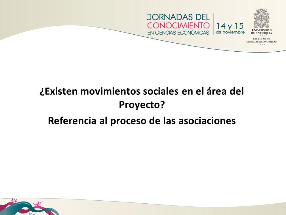 ¿Existen movimientos sociales en el área del Proyecto? Referencia al proceso de las asociaciones