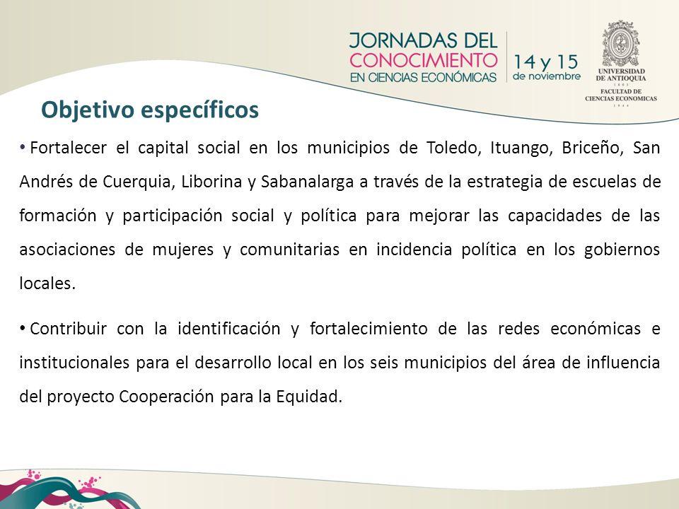 Fortalecer el capital social en los municipios de Toledo, Ituango, Briceño, San Andrés de Cuerquia, Liborina y Sabanalarga a través de la estrategia d