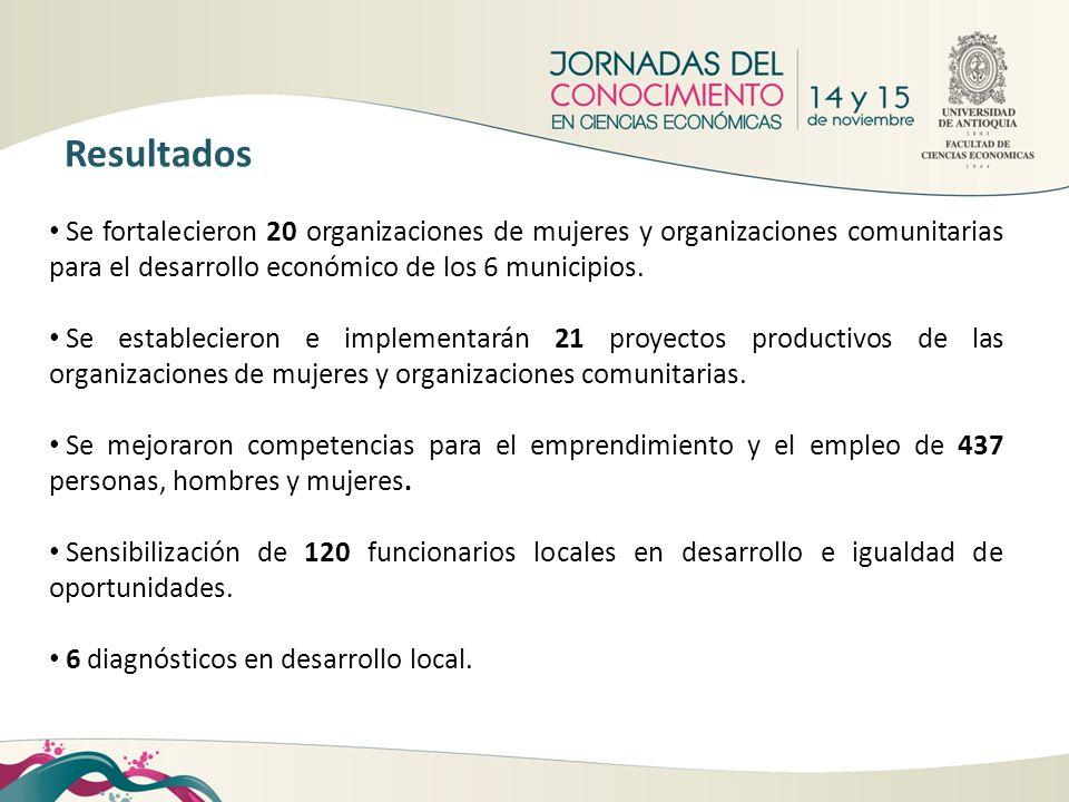 Se fortalecieron 20 organizaciones de mujeres y organizaciones comunitarias para el desarrollo económico de los 6 municipios. Se establecieron e imple