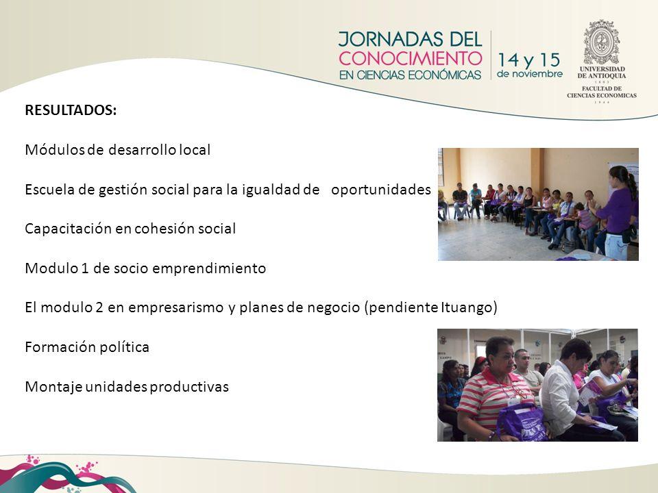 RESULTADOS: Módulos de desarrollo local Escuela de gestión social para la igualdad de oportunidades Capacitación en cohesión social Modulo 1 de socio