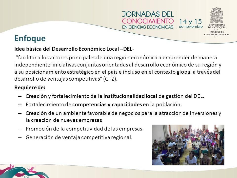 Idea básica del Desarrollo Económico Local –DEL- facilitar a los actores principales de una región económica a emprender de manera independiente, inic