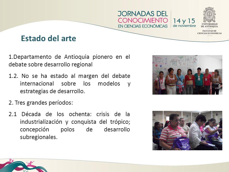 1.Departamento de Antioquia pionero en el debate sobre desarrollo regional 1.2. No se ha estado al margen del debate internacional sobre los modelos y