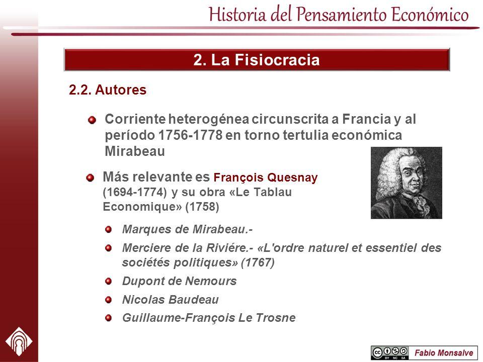 2. La Fisiocracia Corriente heterogénea circunscrita a Francia y al período 1756-1778 en torno tertulia económica Mirabeau 2.2. Autores Marques de Mir